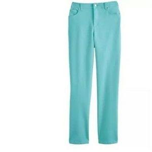 NWT Gloria Vanderbilt Amber Teal Colored Jeans 12